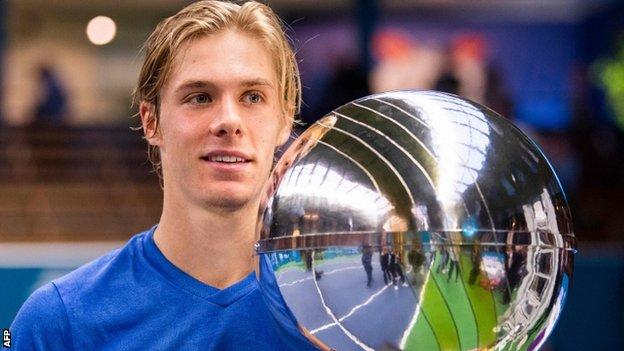 Denis Shapovalov with his Stockholm Open trophy