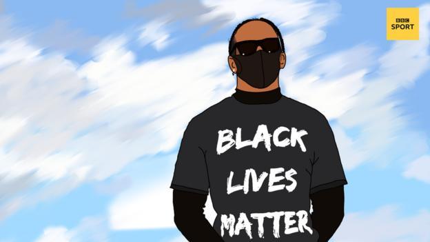 Lewis Hamilton wearing Back Lives Matter T-shirt