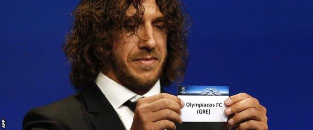 Greek team Olympiakos were drawn out by former Barcelona player Carles Puyol and are in the same group as Arsenal