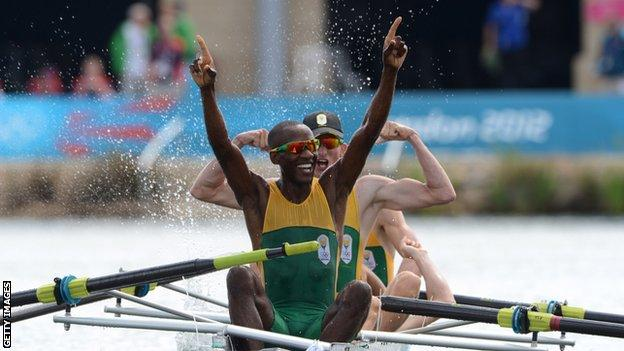Sizwe Ndlovu and his teammates react to crossing the line first at London Olympics