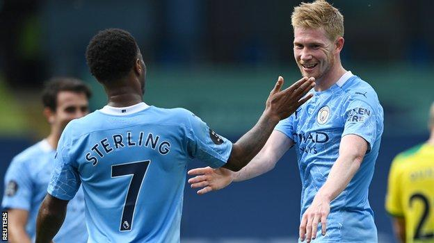Manchester City duo Raheem Sterling and Kevin de Bruyne
