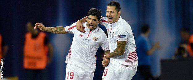 Sevilla came from 4-1- down to force extra time, with Ever Banega (left) among the scorers