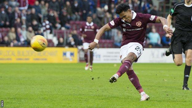 Demetri Mitchell thumps home Hearts' second goal