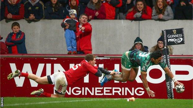 Andrew Conway fails to stop Bundee Aki going over for a late Connacht try