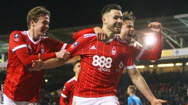 Ben Brereton celebrates scoring for Nottingham Forest