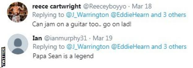 """Twitter users react to Josh Warrington singing, with one user saying Warrington's dad, Sean O'Hagan, is a """"legend"""""""