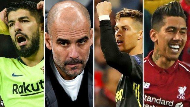 Luis Suarez, Pep Guardiola, Cristiano Ronaldo and Roberto Firmino