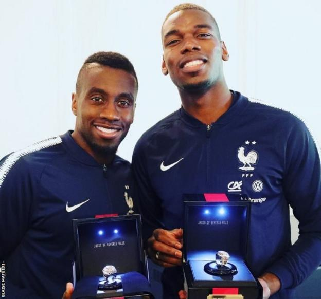 Blaise Matuidi shared an image of the rings Pogba has bought for French World Cup winners