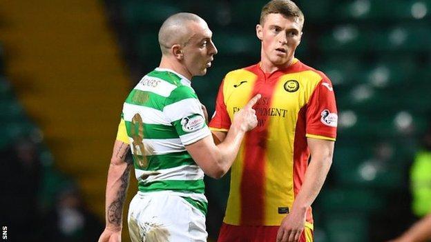 Partick Thistle midfielder Gary Fraser (right) and Celtic captain Scott Brown