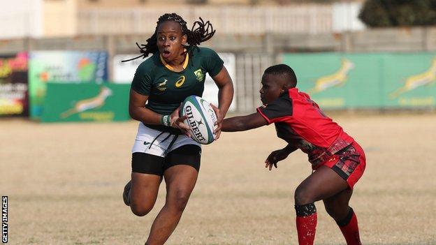Zinhle Ndawonde in action at the Africa rugby Olympic qualifiers.
