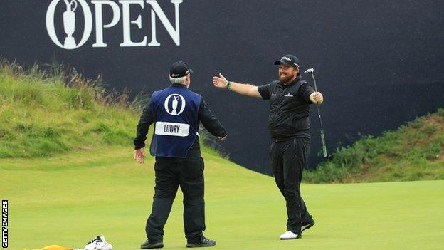 Shane Lowry celebrates after putting to win The Open but the ball remained in the hole