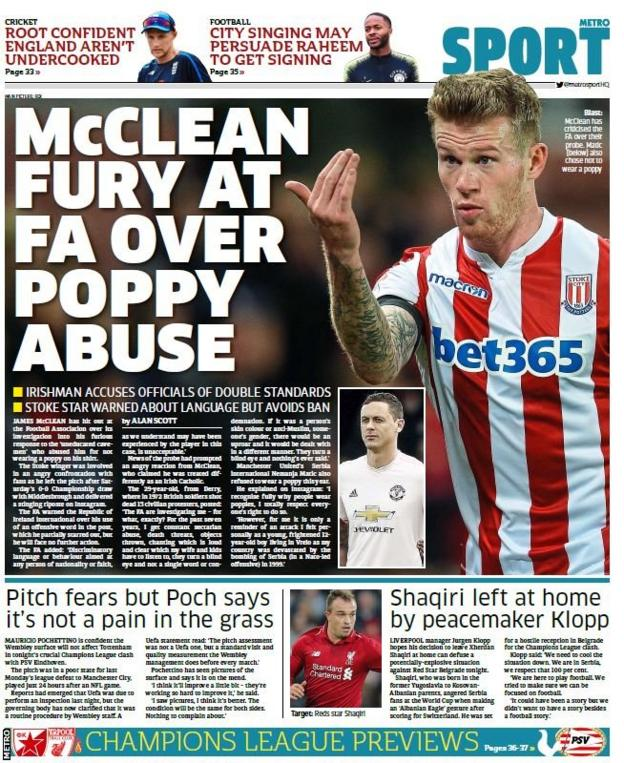 Tuesday Metro back page