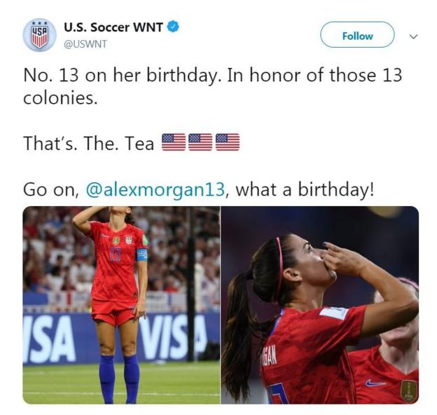 The US national women's team tweeted to say Alex Morgan's birthday goal was 'in honor of the 13 colonies'.
