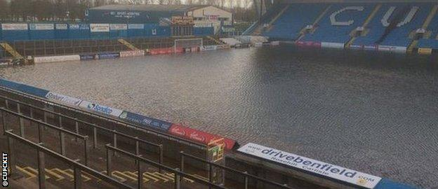 Carlisle United's pitch under water