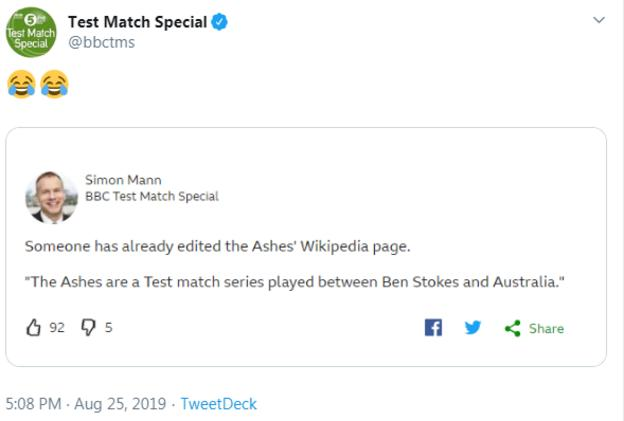 Test Match Special's tweet about Ben Stokes and the Ashes