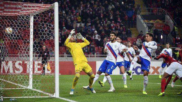 Rangers goalkeeper Allan McGregor loses a goal in Moscow