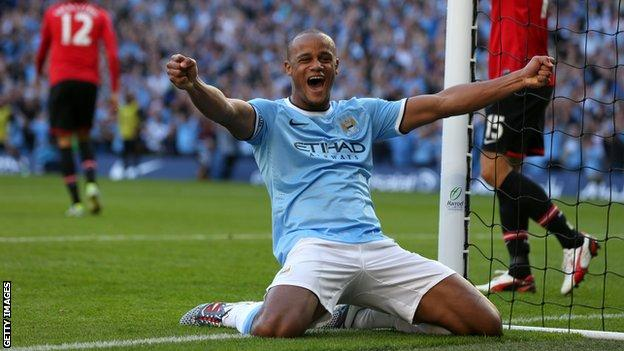 Vincent Kompany celebrates against Man Utd
