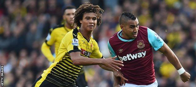 Watford defender Nathan Ake (left) in action against West Ham