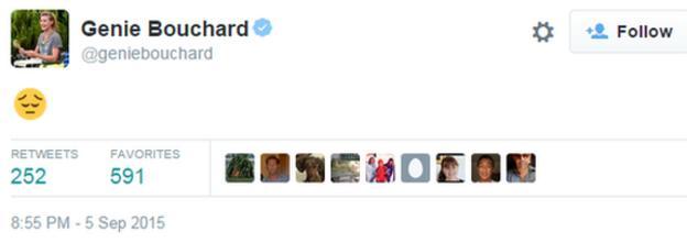 Genie Bouchard's Twitter profile