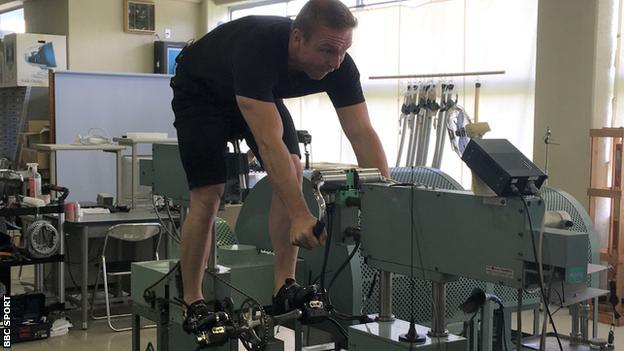 Sir Chris Hoy training at the Japan Keirin School on his return in 2019