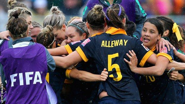 Australia reached the World Cup quarter-finals by beating Brazil
