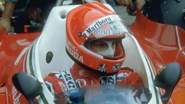 Lauda in his Ferrari before the 1976 German Grand Prix