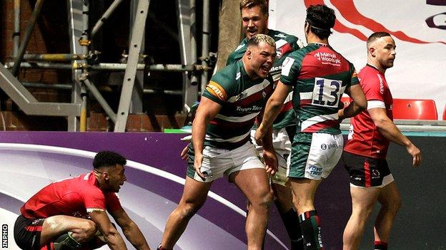 Ellis Genge's second-half try helped Leicester earn a comeback win over Ulster at Welford Road