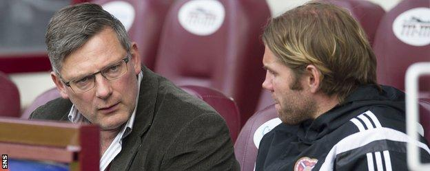 Hearts' Craig Levein and Robbie Neilson chat in the dugout