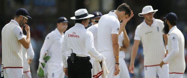 "Steven Finn looks dejected after taking a ""wicket"" with a no-ball"