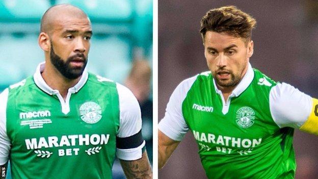Hibs defenders Liam Fontaine and Darren McGregor
