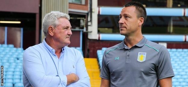 Aston Villa manager Steve Bruce and captain John Terry