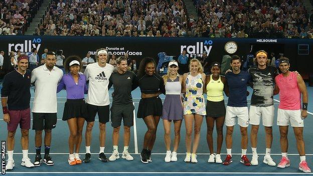 Roger Federer, Nick Kyrgios, Naomi Osaka, Alexander Zverev, Dominic Thiem, Serena Williams, Caroline Wozniacki, Petra Kvitova, Coco Gauff, Novak Djokovic, Stefanos Tsitsipas and Rafael Nadal