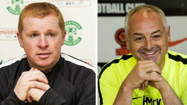 Hibernian manager Neil Lennon and Dundee United counterpart Ray McKinnon