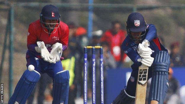 USA bat against Nepal