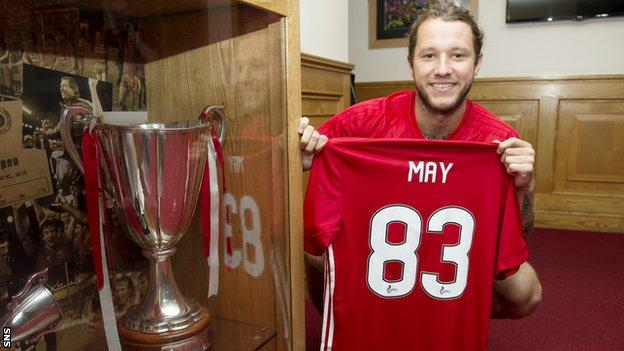 Stevie May with the number 83 shirt