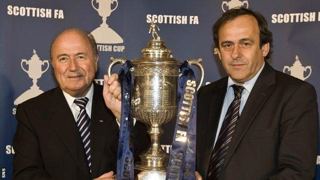 Michel Platini (right) with current Fifa president Sepp Blatter
