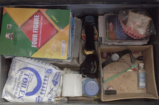 Contents of boxes under beds at St Patrick's