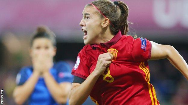 Patricia Guijarro celebrates after scoring the late winner for Spain in the Belfast final against France
