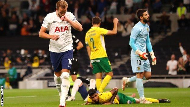 Harry Kane celebrates scoring for Tottenham in the Europa Conference League