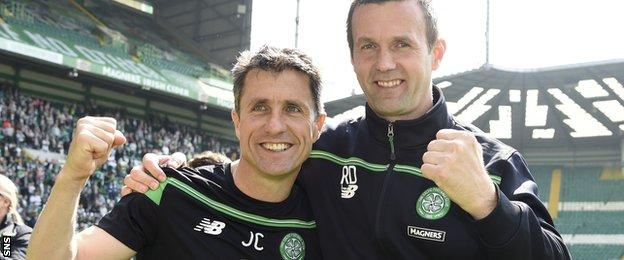 John Collins and Ronny Deila celebrate another Premiership title after Celtic's win over Aberdeen