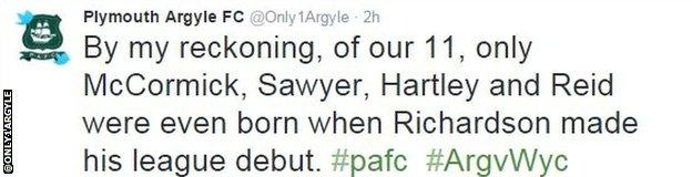 Plymouth Argyle tweet
