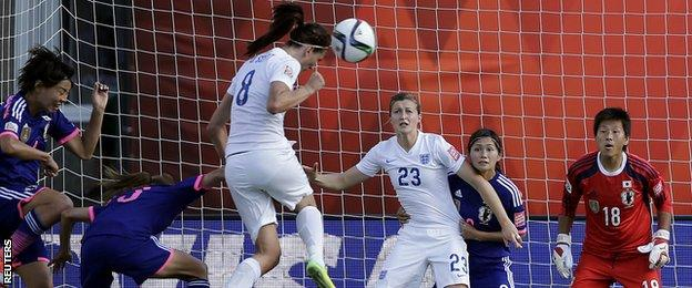 Jill Scott heads wide of goal from a corner