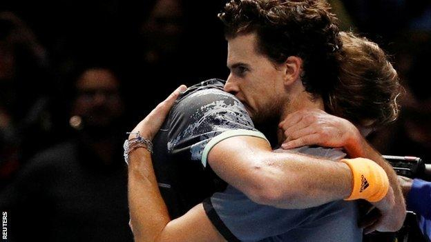 Tsitsipas and Thiem embrace