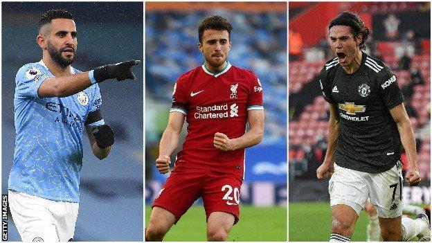 Forwards Riyad Mahrez, Diogo Jota & Edinson Cavani
