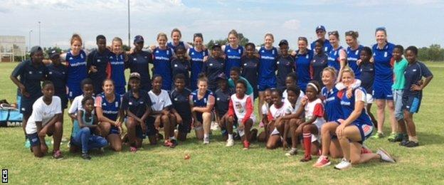 The England squad after a coaching session in Hammanskraal