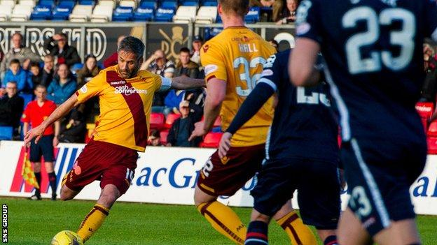 Motherwell skipper Keith Lasley smashed in the visitors' second goal