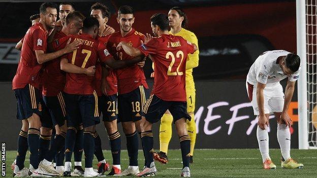 Spain celebrate Mikel Oyarzabal's first-half opener
