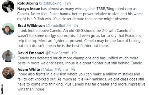 Boxing fans on Twitter are discussing who the best fighter is pound for pound.  One fan says he would rank Inoue above Canelo, while another says Mexican Canelo deserves to be the best because he has won world titles in more weight divisions.
