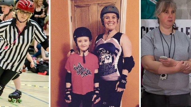 Roller derby non-skating official, Dena, Roller derby referee, Gill, Roller derby skaters Katy and Nicola