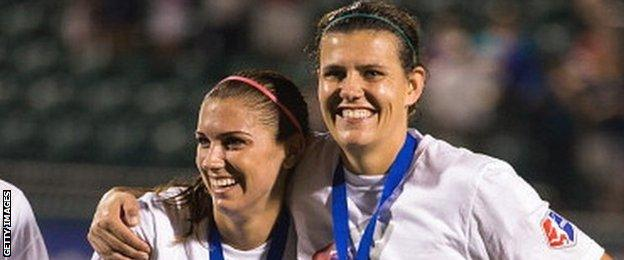 Alex Morgan (right) and Christine Sinclair (left)